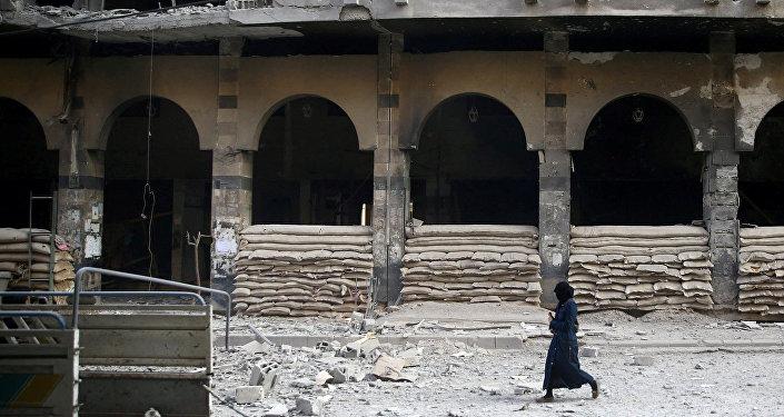 Edificios destruidos en las afueras de Damasco