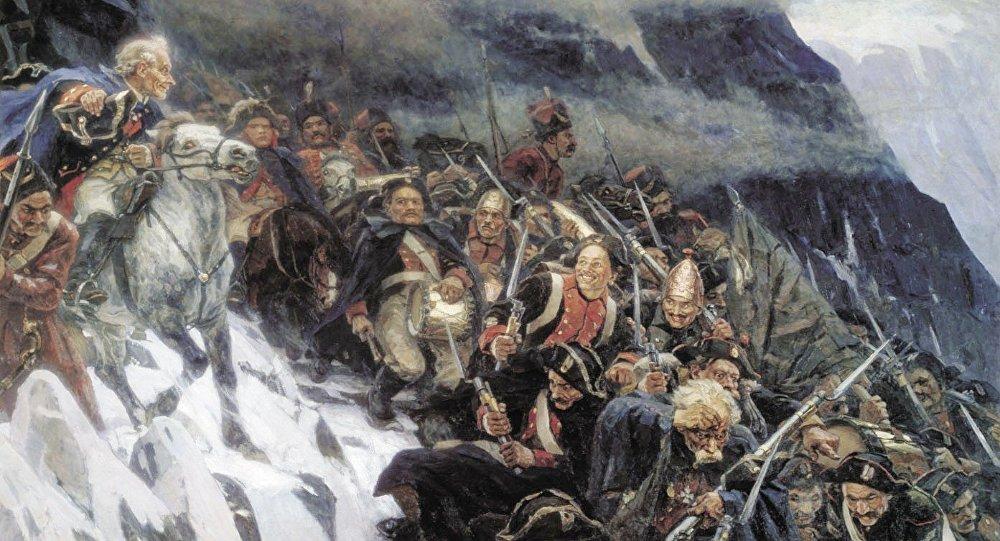 Fragmento de 'Las tropas del generalísimo Suvórov cruzando los Alpes' de Vasili Súrikov (1848–1916)