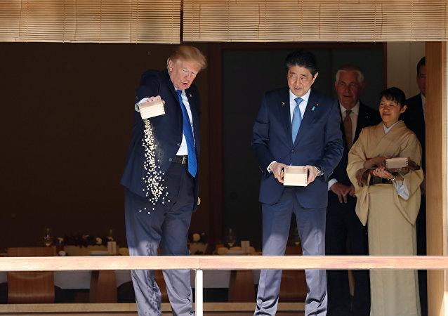 Donald Trump y el primer ministro de Japón, Shinzo Abe, alimentan a las carpas