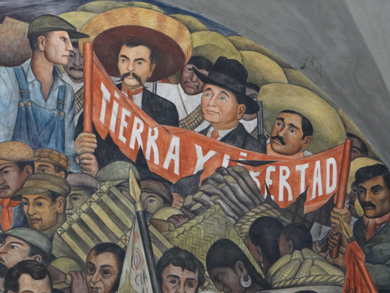 Un sector del mural Historia de México en el Palacio Nacional de la Ciudad de México.