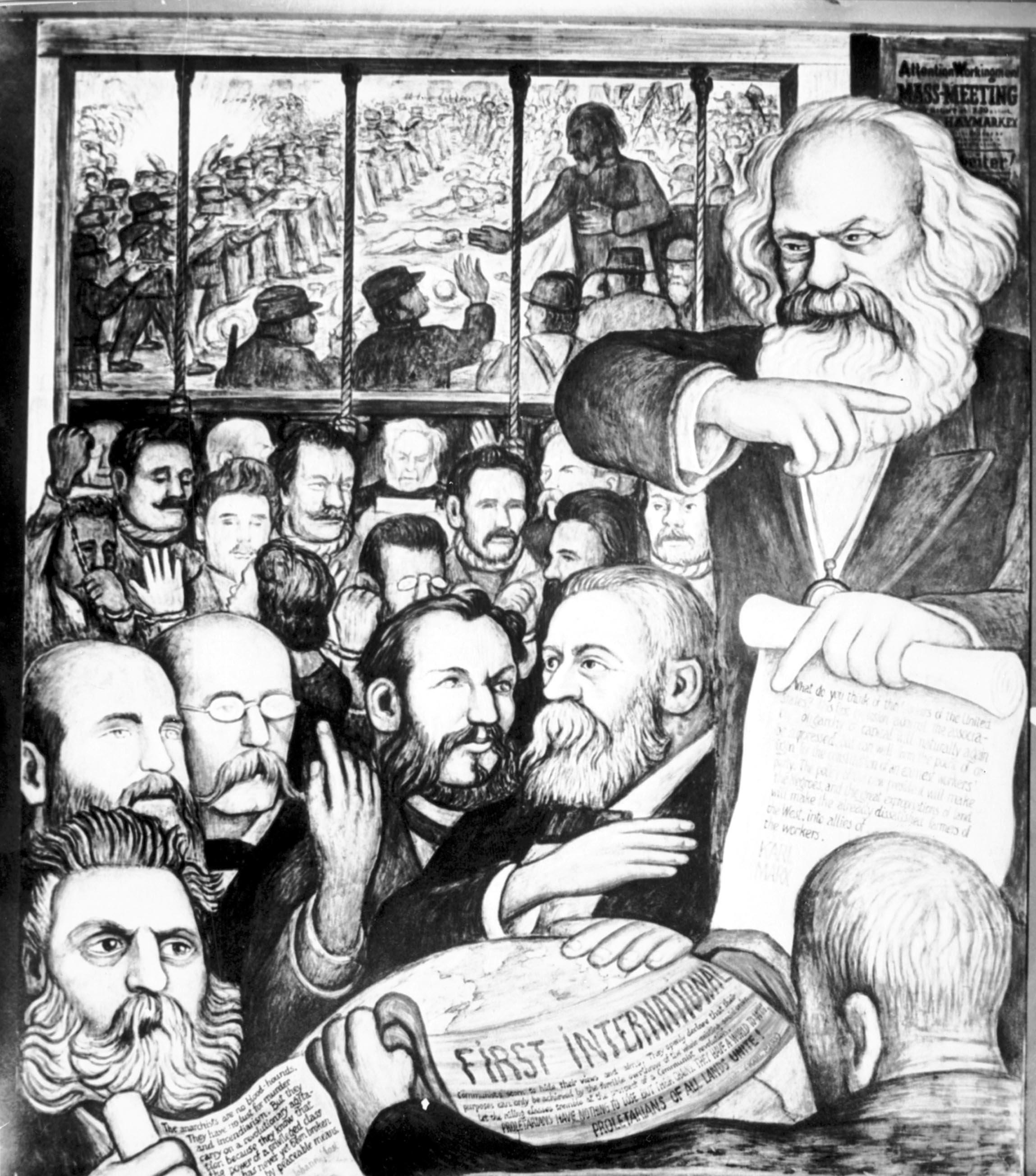 Un panel de Diego Rivera con Karl Marx, Terrance Powderly, Friedrich Engels, y los mártires de Haymarket