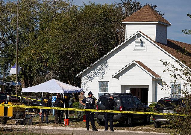 Las policías en el lugar de tiroteo en Texas, EEUU