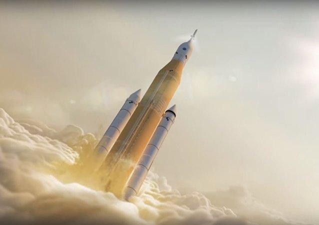 Una animación que representa el lanzamiento del cohete SLS