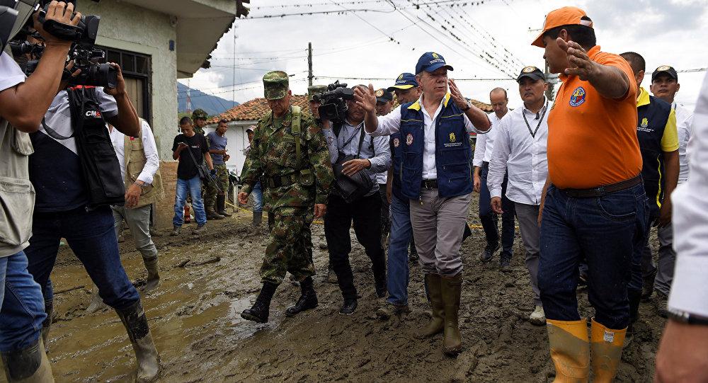 El presidente de Colombia, Juan Manuel Santos, en el municipio de Corinto
