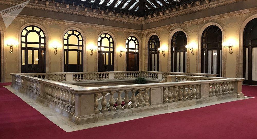 El interior del Parlamento catalán