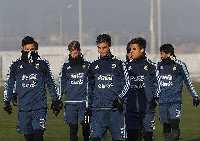 La selección de Argentina en su entrenamiento para el partido amistoso con Rusia