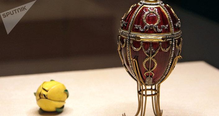 Huevo del capullo de rosa, el taller de joyería de Fabergé