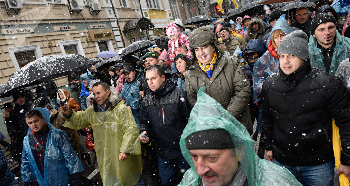 Manifestación contra Poroshenko en Kiev
