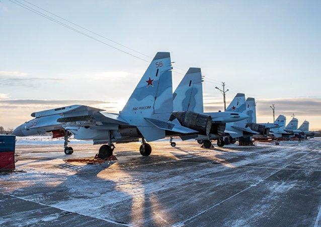 Los cazas rusos Su-35S (imagen referencial)
