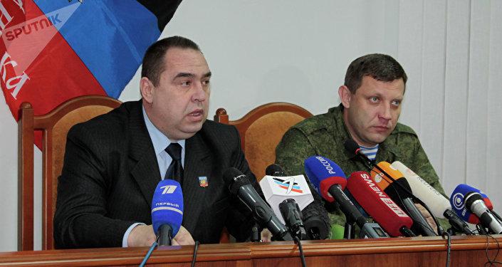 Líder de la autoproclamada República Popular de Lugansk (RPL), Ígor Plotnitski y , líder de la autoproclamadas República Popular de Donetsk (RPD), Alexandr Zajárchenko