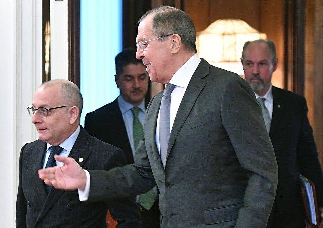 El ministro de Relaciones Exteriores de Argentina, Jorge Faurie, y su homólogo ruso, Serguéi Lavrov