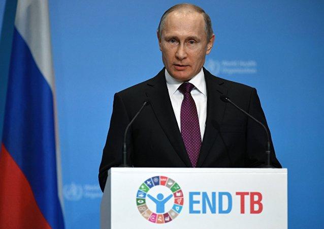 El presidente de Rusia, Vladímir Putin, durante una conferencia ministerial de la OMS