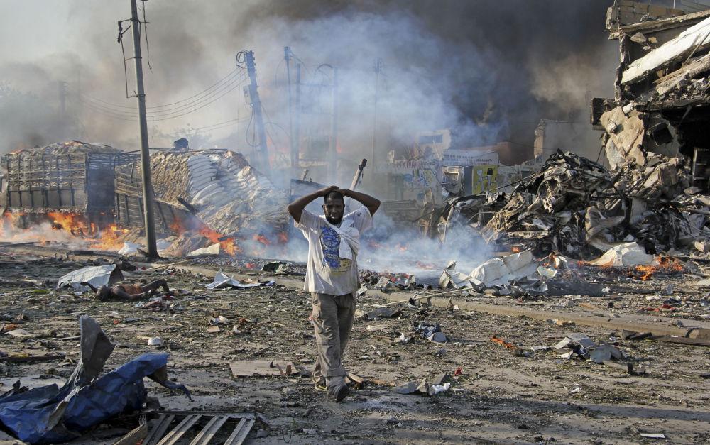 Las consecuencias de la explosión en el centro de Mogadiscio