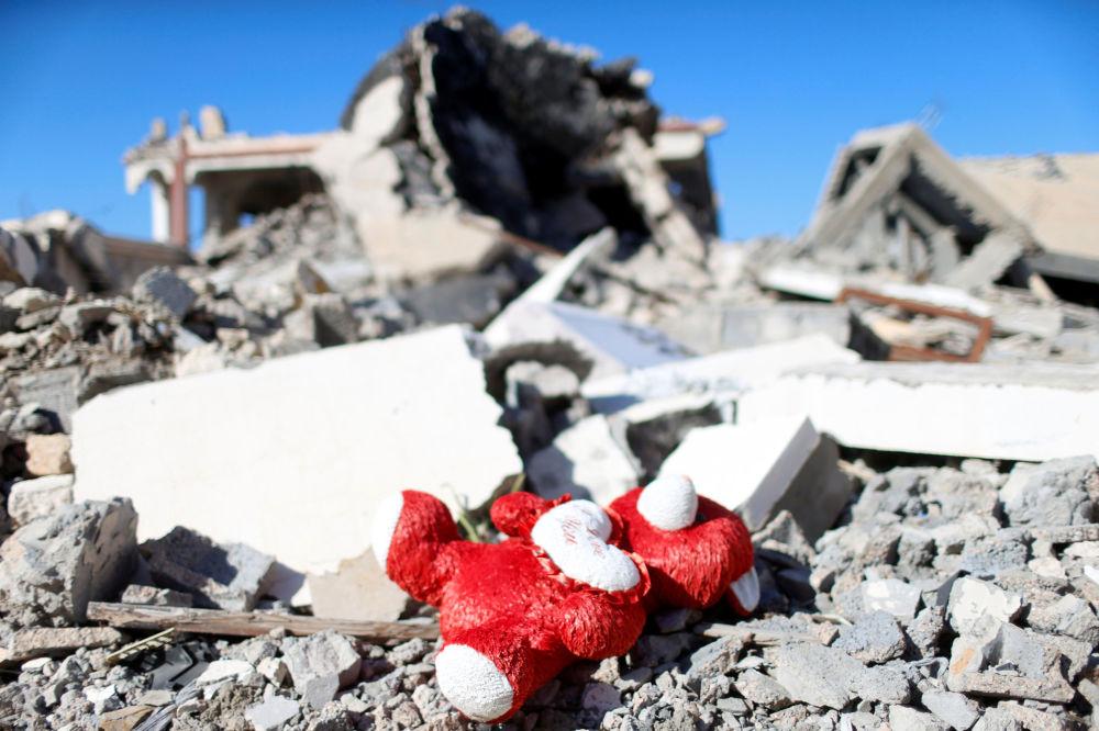 Una casa destruida por los yihadistas de Daesh en la ciudad libia de Sirte.