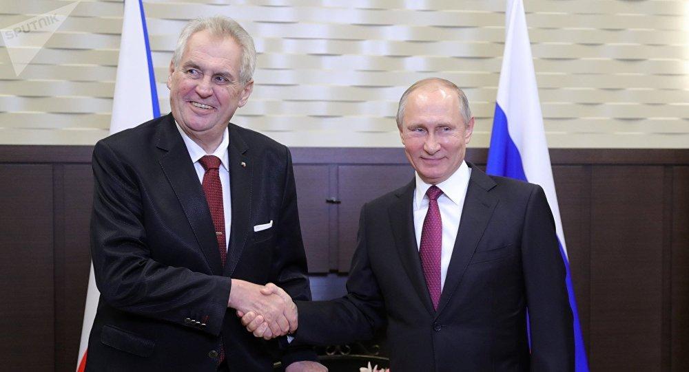 El presidente checo, Milos Zeman y so homólogo ruso, Vladímir Putin, en una reunión celebrada en Moscú en noviembre de 2017 (archivo)