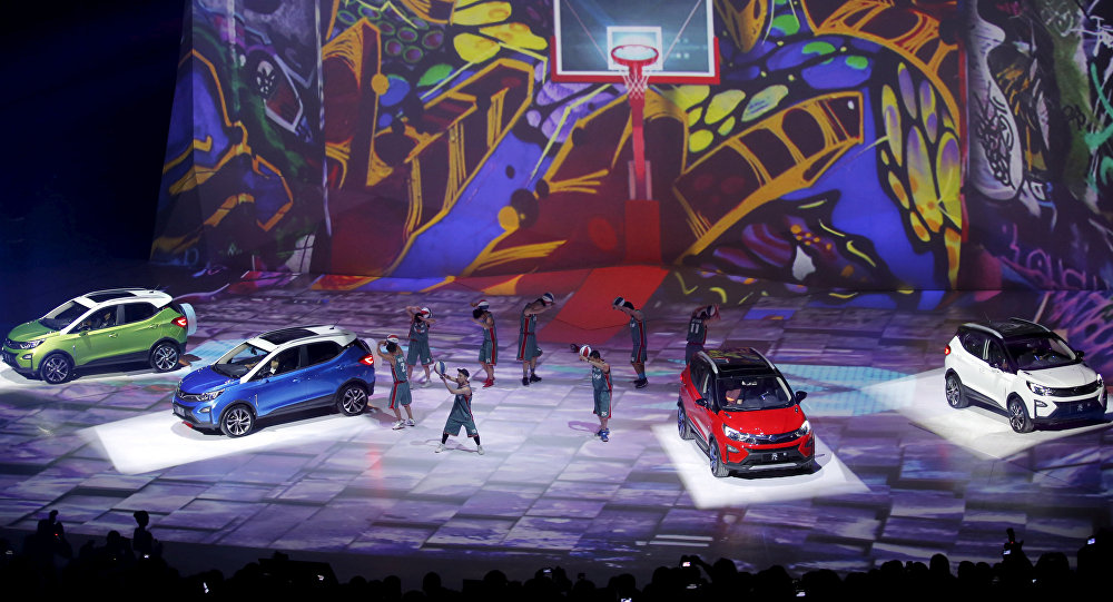 Los coches eléctricos del fabricante chino BYD durante una presentación