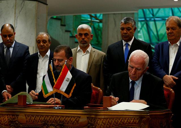 Los representantes de Hamás y Al Fatah firman acuerdo de reconciliación (archivo)