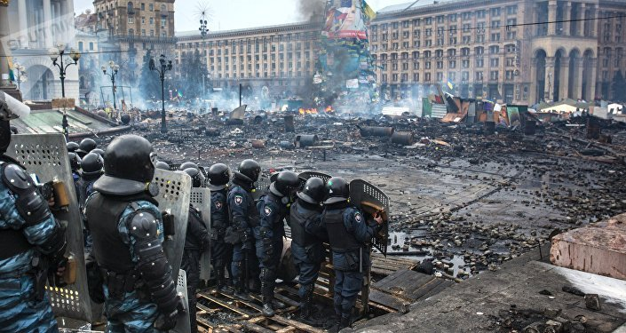 Protestas en la plaza Maidán de Kiev en febrero de 2014