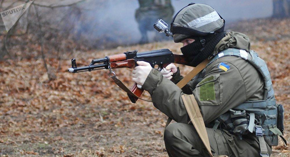 Militares ucranianos durante las maniobras