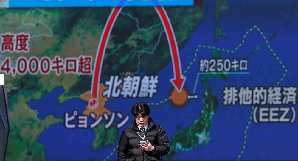 La trayectoria del misil balístico Hwasong lanzado por Corea del Norte hacia Japón