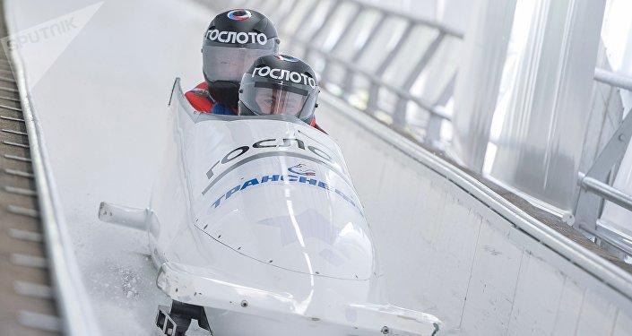 Un entrenamiento de los atletas de bobsleigh rusos