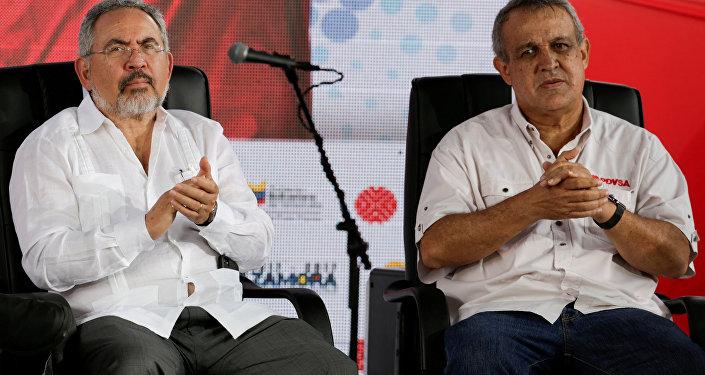 Exministros de Petróleo de Venezuela Nelson Martínez y Eulogio Del Pino