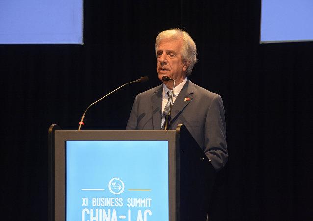 El presidente de Uruguay, Tabaré Vásquez, durante la sesión inaugural de la XI Cumbre China-LAC