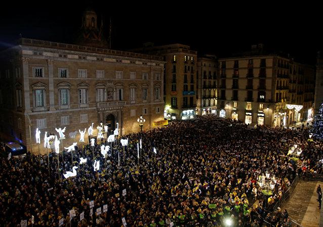 Manifestación en la Plaça Sant Jaume de Barcelona (archivo)
