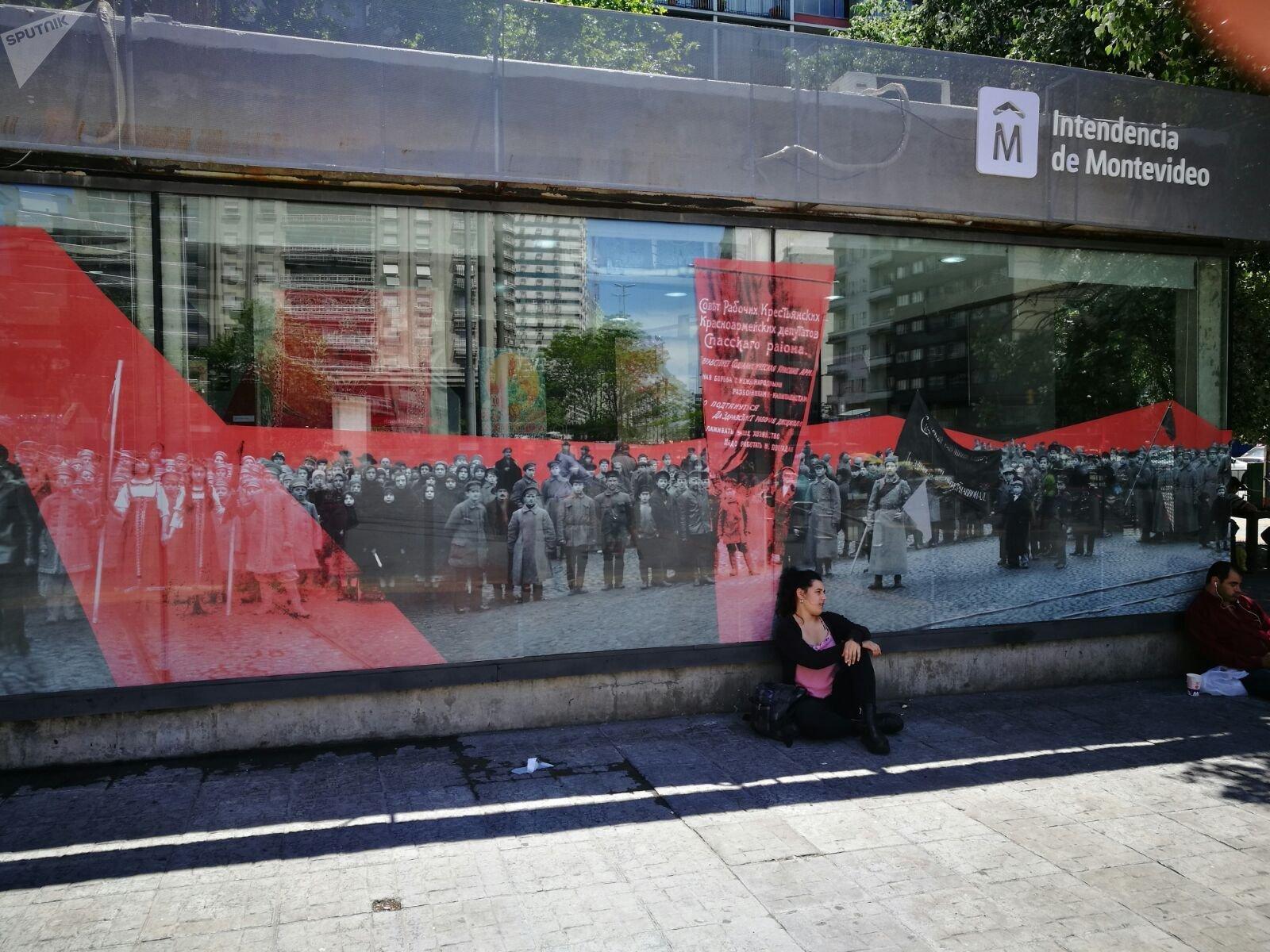 La muestra '100 años de Octubre Rojo', en Montevideo, Uruguay.