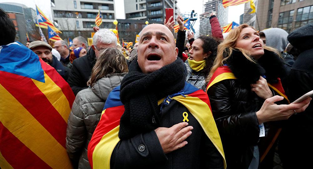 Manifestaciones en favor del independentismo catalán en Bruselas
