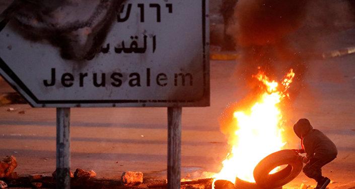 Protestas contra el reconocimiento de Jerusalén como la capital de Israel por parte del presidente de EEUU, Donald Trump