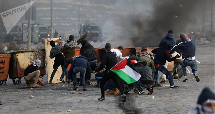 Participantes de una protesta en Palestina contra la decisión de reconocer a Jerusalén como la capital de Israel