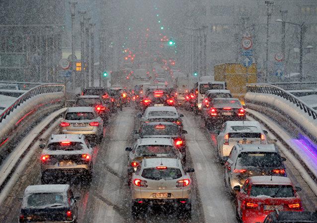 El tráfico automovilístico paralizado en Bélgica