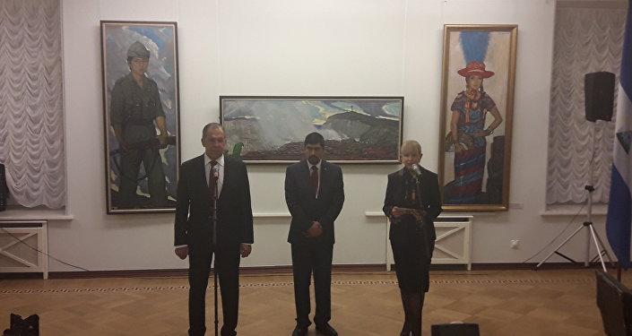 Serguéi Lavrov y Juan Ernesto Vásquez Araya inauguran la exposición