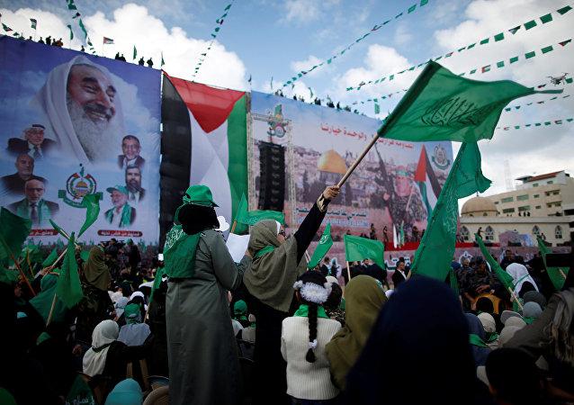 La organización islamista Hamás celebra el treinta aniversario de su fundación en la Franja de Gaza