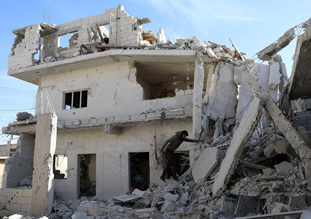 Un edificio destruido en Siria