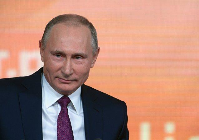 Vladimir Putin durante su rueda de prensa