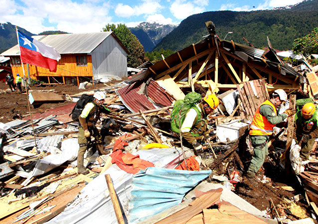 Consecuencias del aluvión en Villa Santa Lucia, Chile
