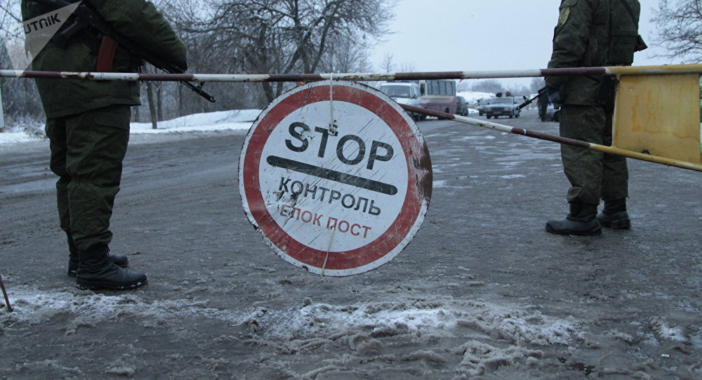 Un puesto de control en la región de Donetsk, donde tuvo lugar el canje de prisioneros (archivo)