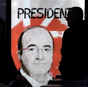 Una pancarta Miquel Iceta, el primer secretario del Partido Socialista de Cataluña