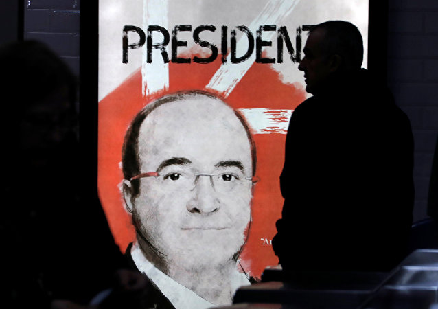 Una pancarta con Miquel Iceta, candidato del PSC