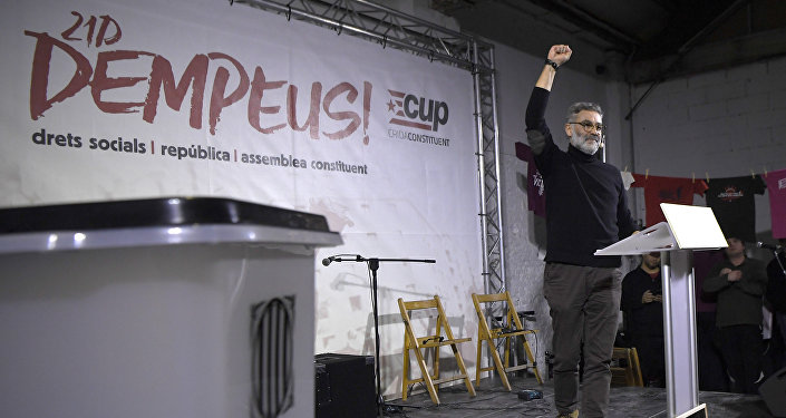 Candidate of the Catalan pro-independence anticapitalist party Candidatura d'Unitat Popular - CUP (Popular Unity Candidacy) Carles Riera