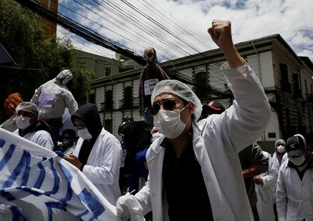 Protestas de médicos en Bolivia