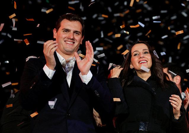 Albert Rivera, presidente de Ciudadanos, y Inés Arrimadas, candidata del partido