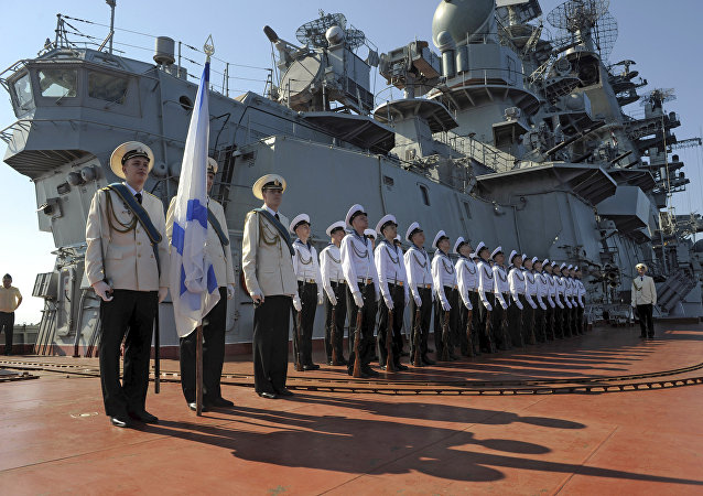 Crucero lanzamisiles Piotr Veliki en el puerto de Tartus (archivo)