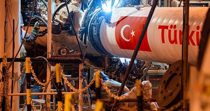 La construcción del gasoducto Turk Stream (imagen referencial)