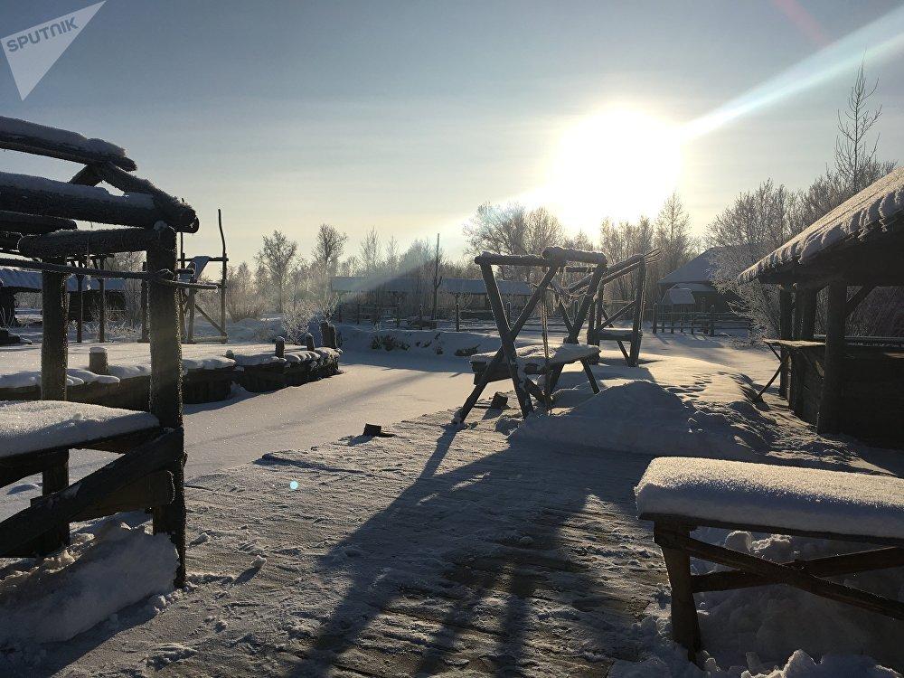 Locación del rodaje de la película rusa 'Tobol' sobre los pioneros de Siberia, en la región de Tiumén. Naturalmente, cubierto de nieve.