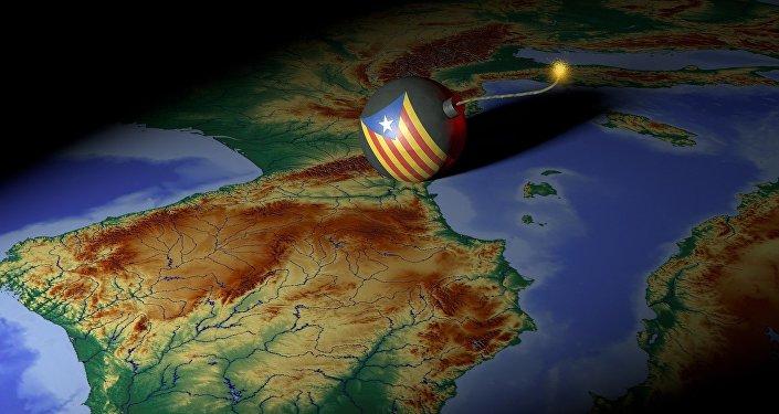 El mapa de España y una bomba