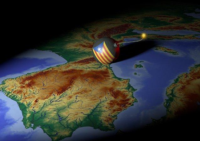 El mapa de España y una bomba (imagen referencial)