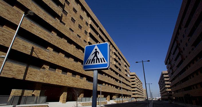 Los edificios en la ciudad española de Sesena